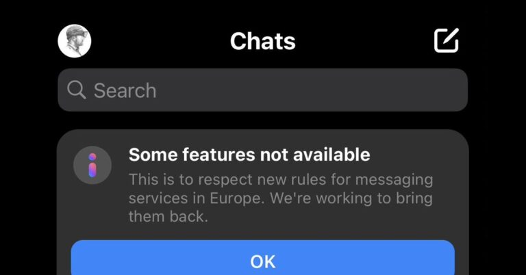 Facebook is temporarily disabling some Messenger and Instagram features in Europe